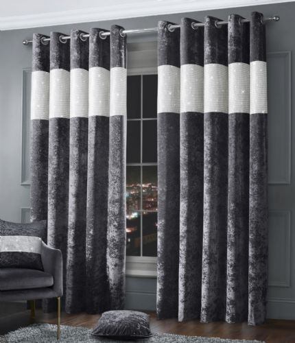 Stylish Diamante Crushed Velvet Modern Textured Ringtop Eyelet Pair Of Curtains Charcoal Colour